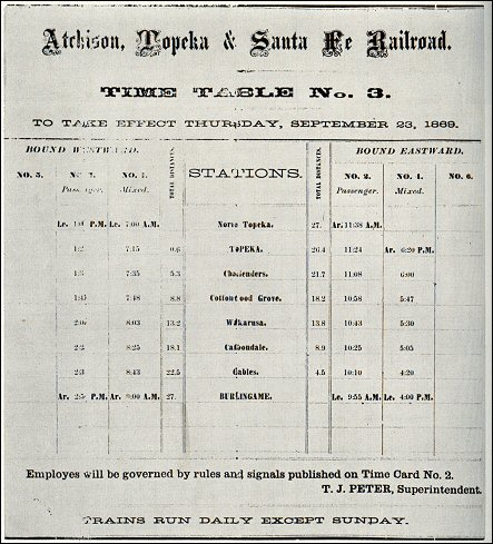 AT&SF timetable, 1869