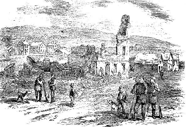 Ruins of the Free-State Hotel in Lawrence KS after the May 1856 raid by Sheriff Jones