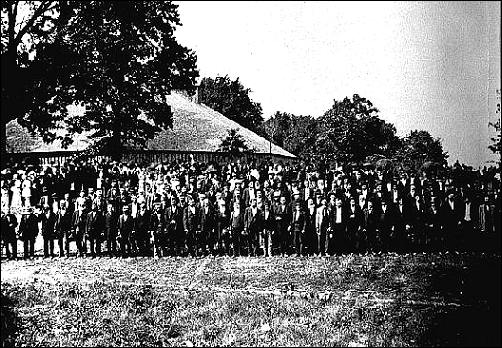 Men at the Bismarck Grove old settlers meeting, 1879