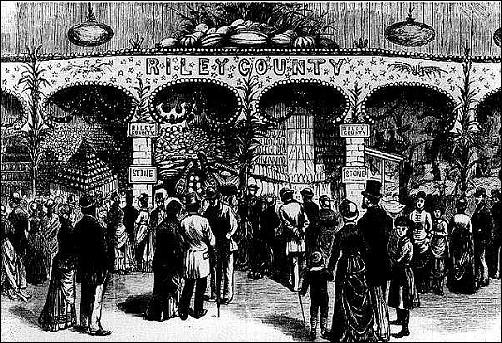 Riley county exhibit at Western National Fair in Bismarck Grove, 1880