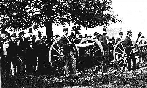 Cannon prepared to fire at old settlers meeting, Bismarck Grove, 1879