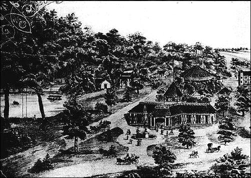 General view of Bismarck Grove grounds in 1882 (left section)