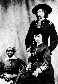 Gen. Custer and his wife Elizabeth with her servant Eliza