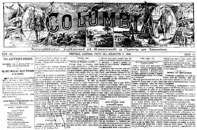 Front page of Welsh/American newspaper Y Columbia for December 11, 1890