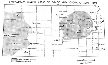 Approximate market areas of Osage and Colorado coal, 1893