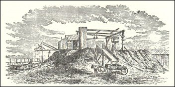 Sketch of coal mine structure on top of an elevation