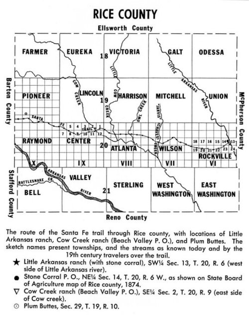 Map of Rice County Kansas