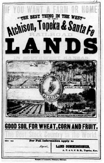 1870's poster advertising Santa Fe railroad land in southwest Kansas