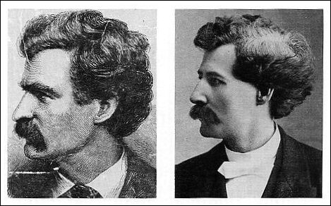 Sketch of Samuel Clemens (Mark Twain) and photo of Gaspar C. Clemens