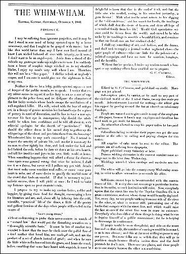 Page 4 of first issue of the Whim-Wham, by G. C. Clemens, 1880