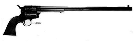 The so-called Buntline Special with 16-inch barrel, never shipped from the Colt factory