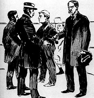 A San Francisco Examiner drawing showing Earp surrendering revolver to Police Capt. Wittman, 1896