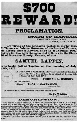 Poster announcing rewards for arrest of Samuel Lapin, who was returned to Topeka in October 1884
