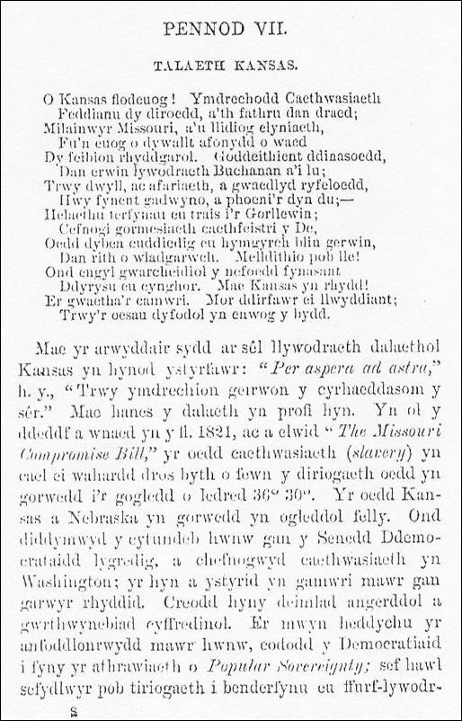 Image of a poem about Kansas in Welsh, from A History of Welsh in America