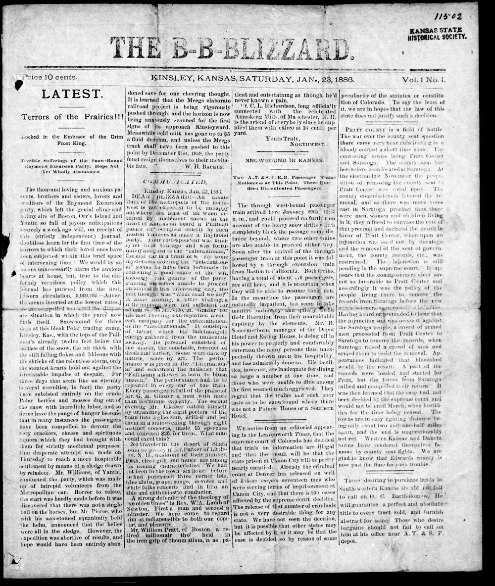 Kinsley newspaper dated January 23, 1886.