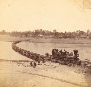 Lawrence, Leavenworth & Galveston Railroad bridge on Kansas River at Lawrence, 1867