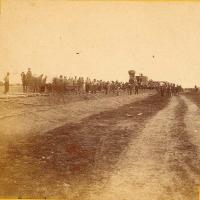 Alexander Gardner photograph of building the Union Pacific Eastern Division railroad line west of Hays, Kansas, 1867