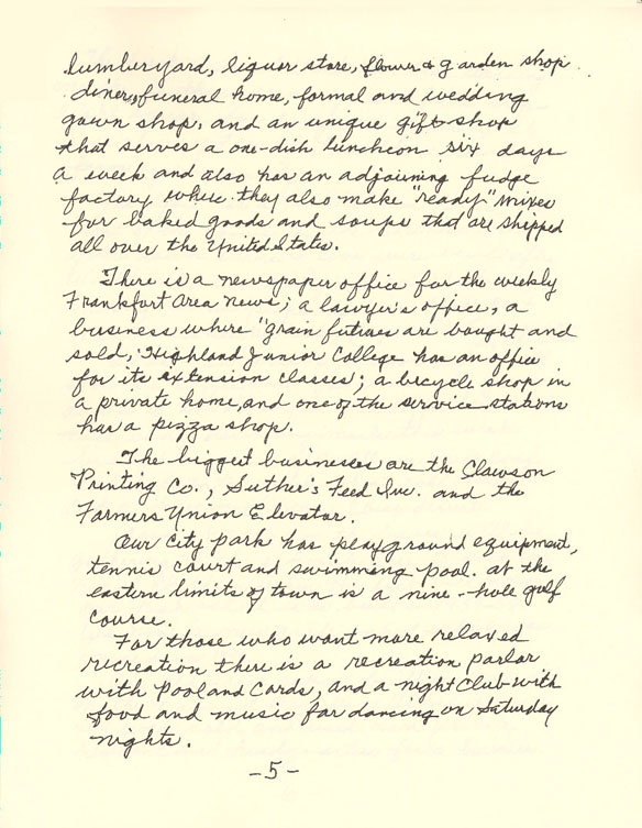 Letter from Marshall County, Kansas