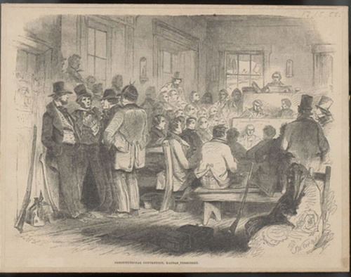 "Drawing of a session of the 1855 Topeka Constitutional Convention, from ""Frank Leslie's Illustrated Newspaper,"" December, 15, 1855"