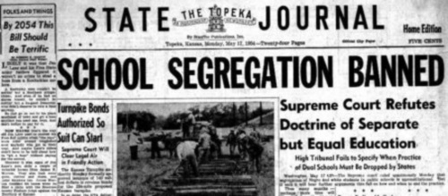 Image of Topeka State Journal, May 17, 1954, headline on Brown v. Bd.