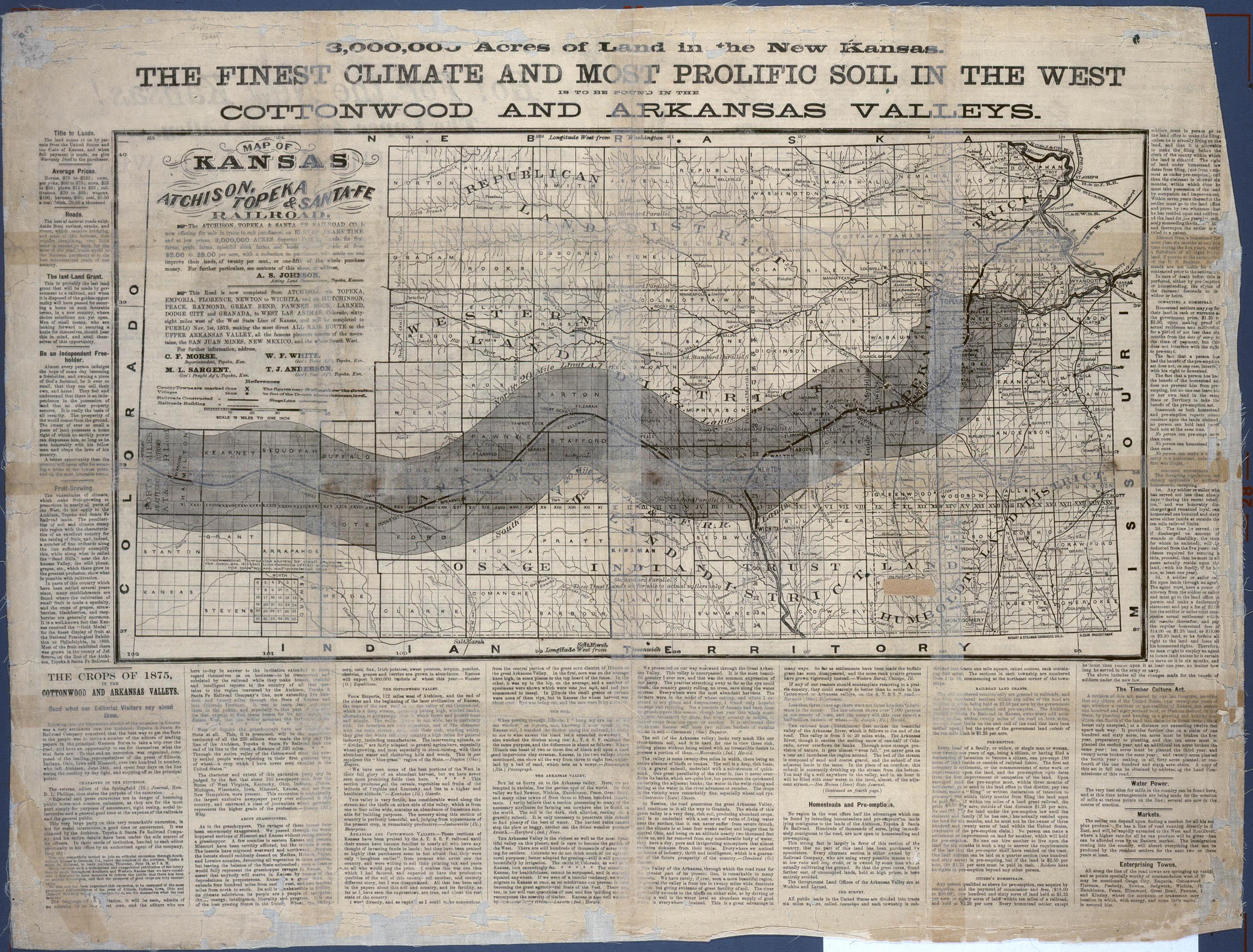 AT&SF Railroad map advertising land sales, 1875