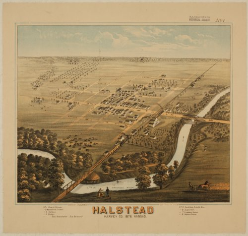 Bird's eye view of Halstead, Harvey Co. Kansas, 1878