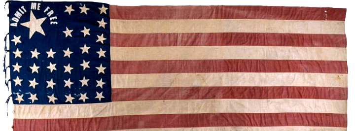 Admit Me Free flag, in the collection of the Kansas Museum of History