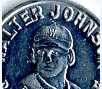 Aluminum game piece from the Walter Johnson Baseball game, 1915