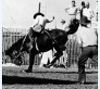 Bronc rider at the Kansas State Fair in Hutchinson, circa 1935