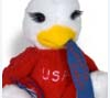Stuffed toy commemorating Coldwater Eagle's win of state football championship, 1985