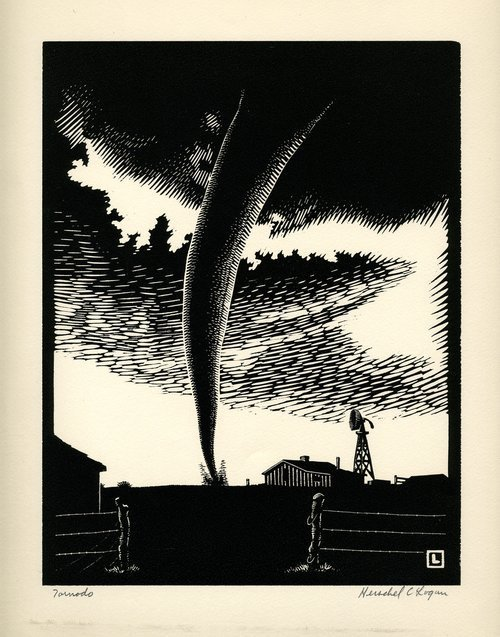 Tornado woodcut by Herschel Logan, 1938