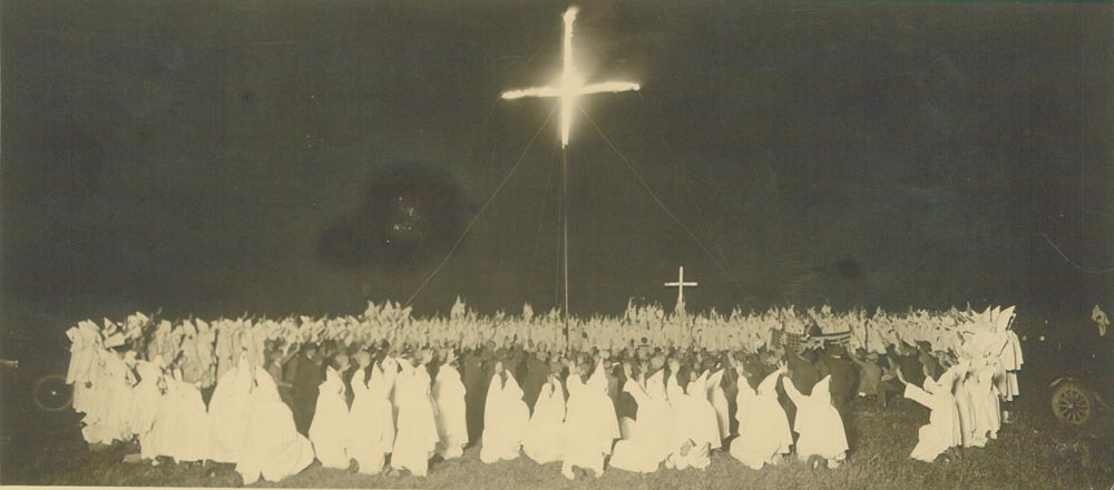 Ku Klux Klan cross burning in Kansas, 1920s