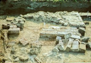 Hearth at Fort Zarah excavation