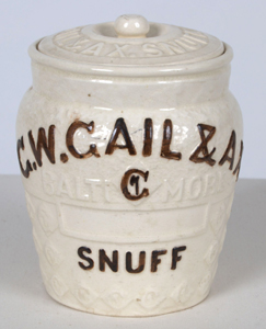 C. W. Gail and Ax Tobacco Works snuff jar