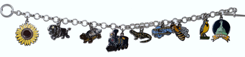 Charm bracelet with Kansas symbols