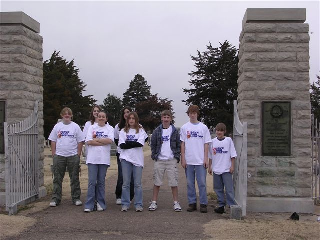 Glasco students visiting a local cemetery