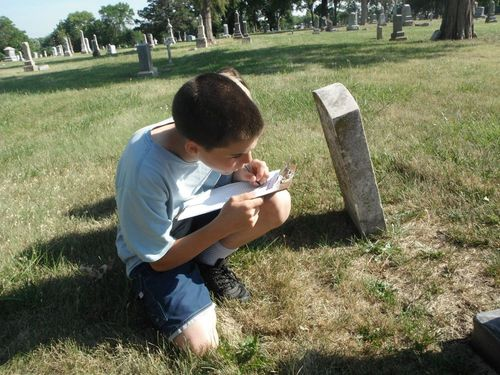 Performing a community service by recording Civil War veterans' graves.