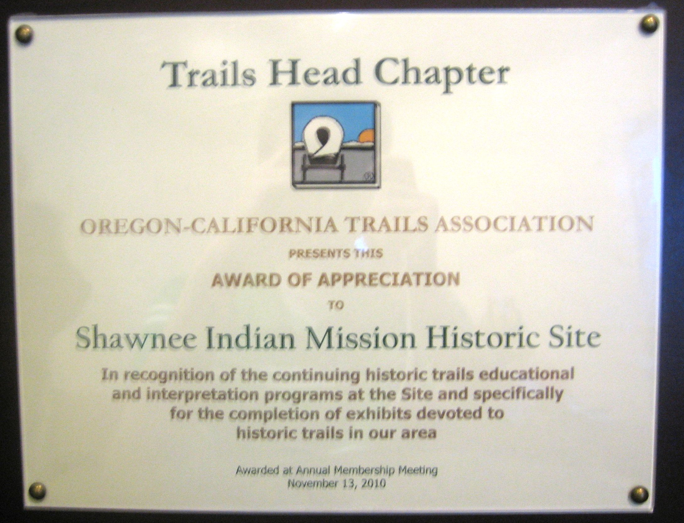 Award from Trails Head Chapter of the Oregon-California Trail Association