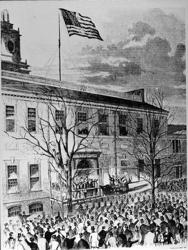 Lincoln raising 34 star flag.