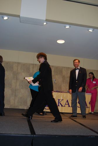 Receiving award at state contest for 2nd place, Jr. group documentary