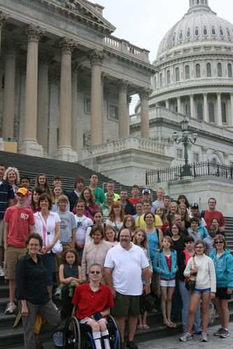 Kansas delegation on U.S. Capitol Steps with Rep. Lynn Jenkins
