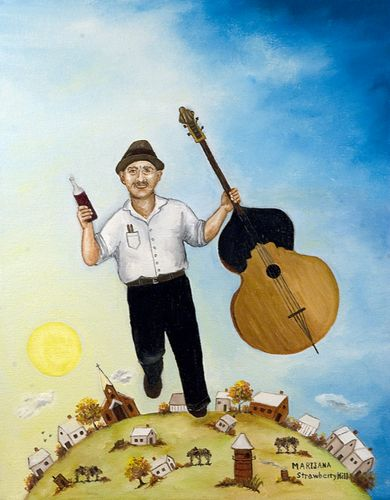 Marijana's father with his tamburitza bass and bottle of wine