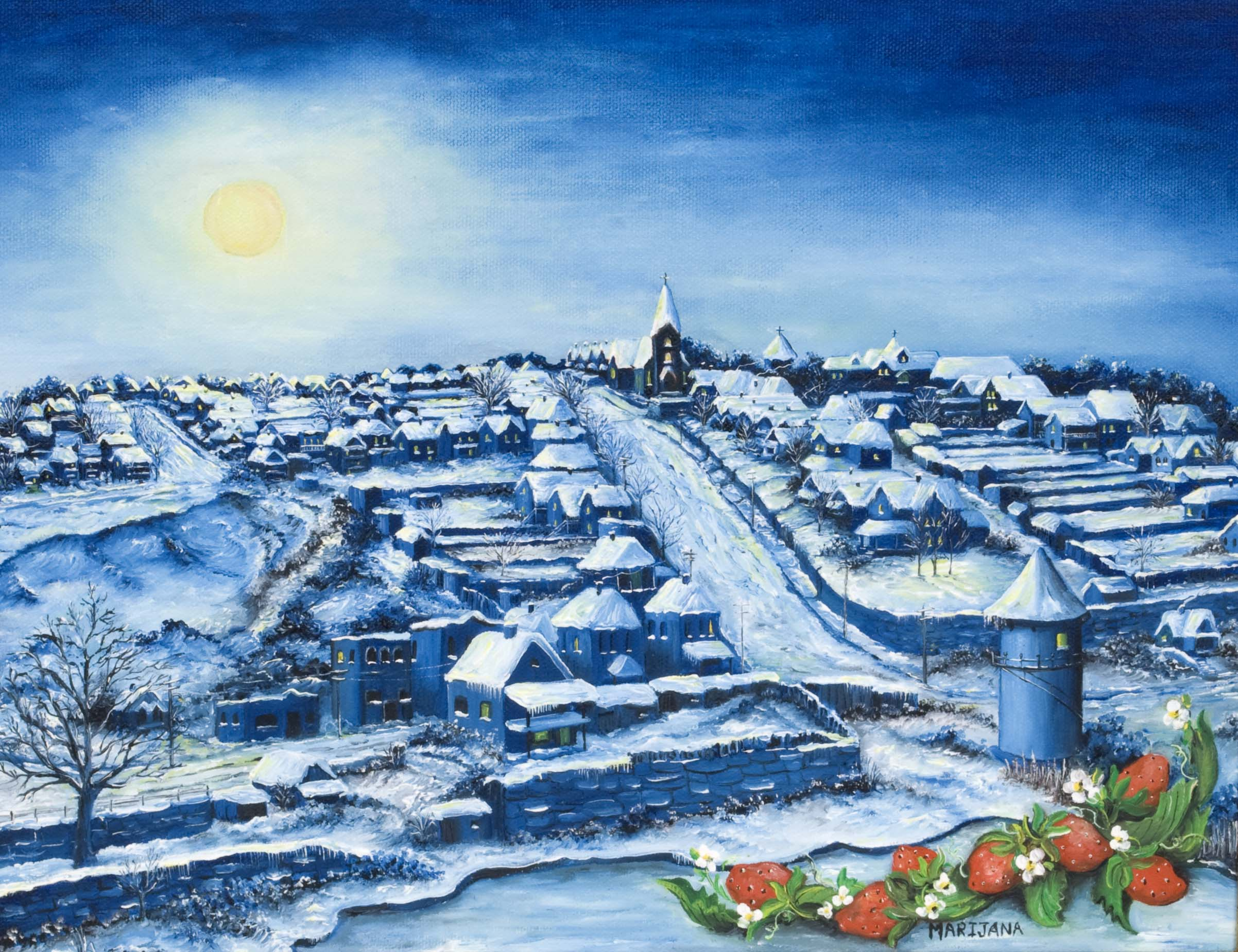 Painting titled Winter Evening with snow covering the Strawberry Hill neighborhood.