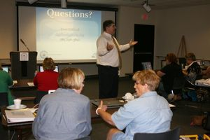 KSDE Social Studies Consultant Don Gifford explains Common Core Standards to the participants.