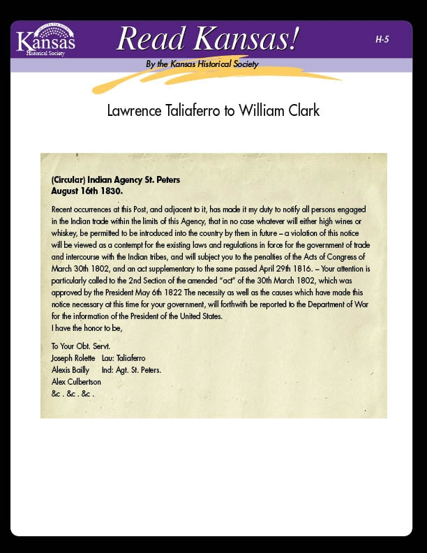 H-5 Lawrence Taliaferro to William Clark