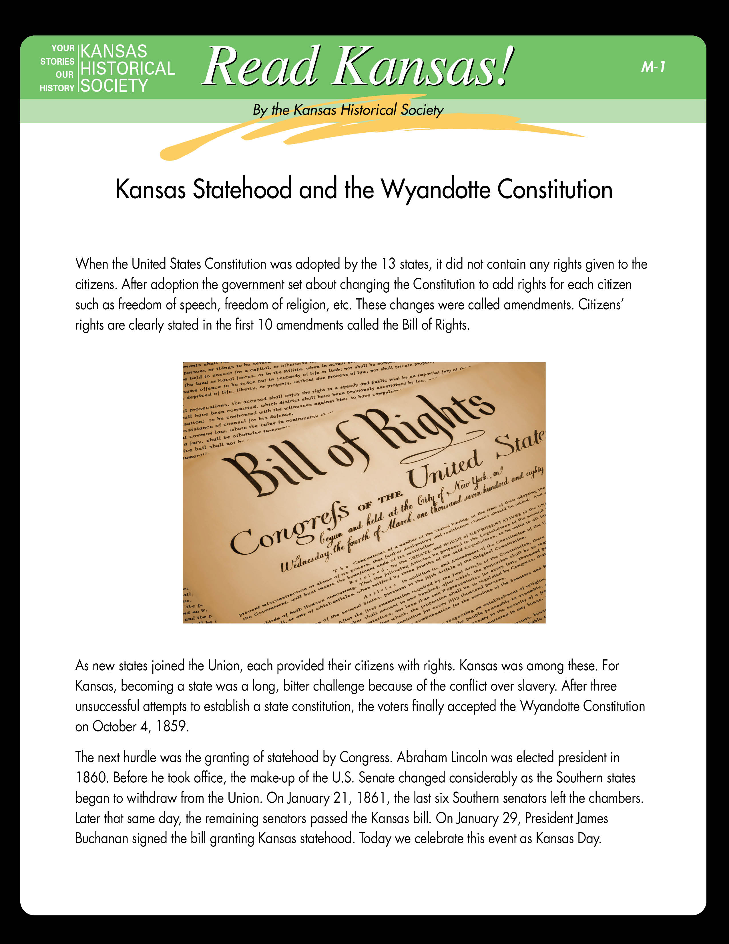 Kansas Statehood and the Wyandotte Constitution