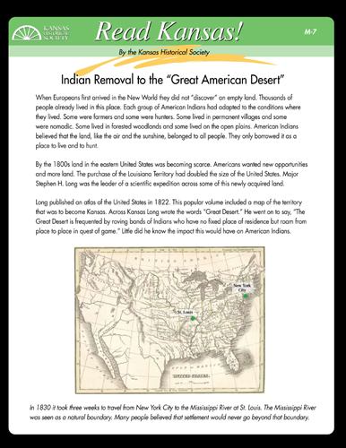 "Indian Removal to the ""Great American Desert"" - M-7"
