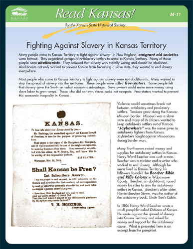 M-11 Dispute Over  Slavery in Kansas Territory
