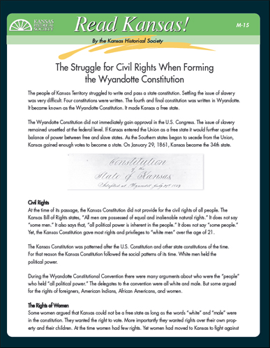 M-15 Wyandotte Constitutional Convention: The Issue of Suffrage