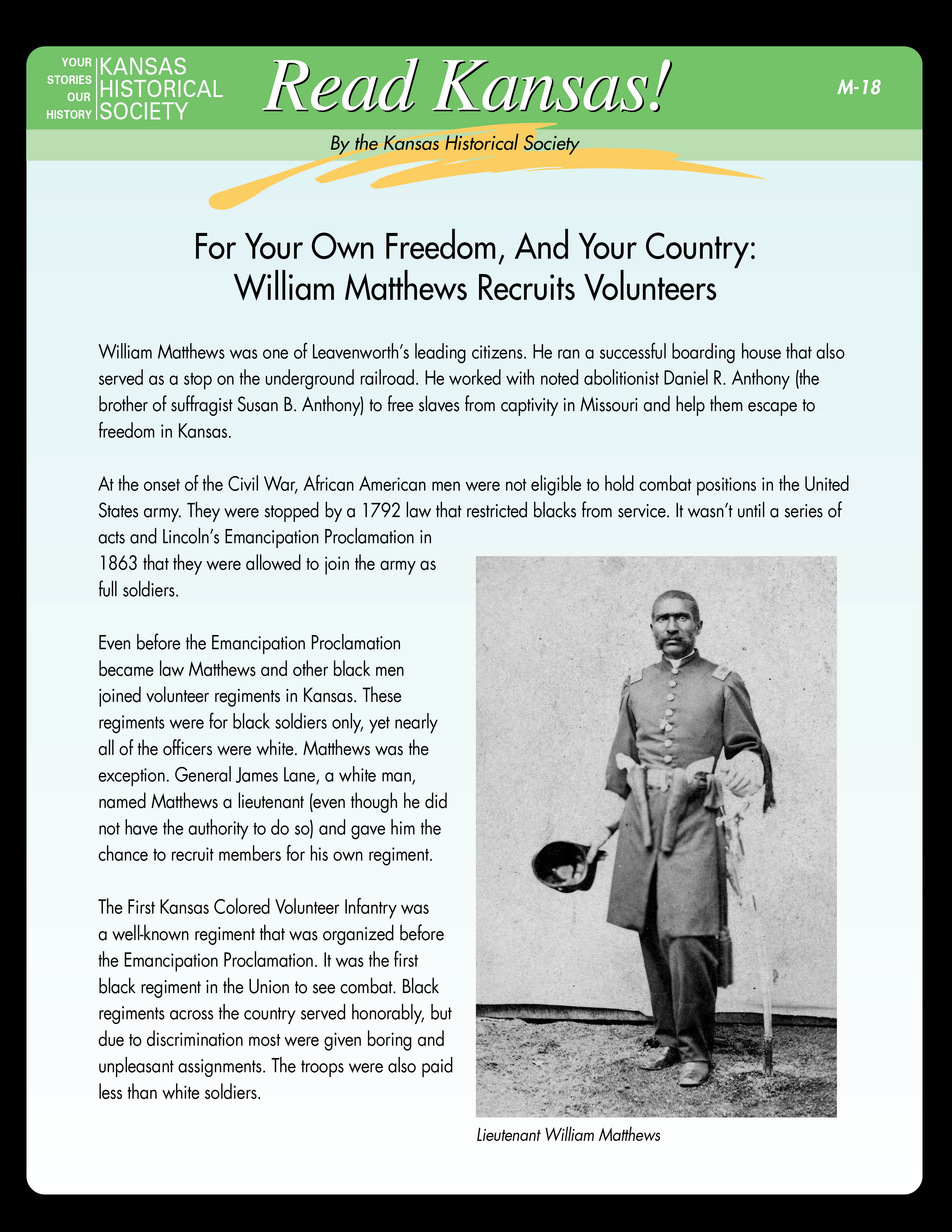 M-18 For Your Own Freedom, and Your Country: William Matthews Recruits Volunteers